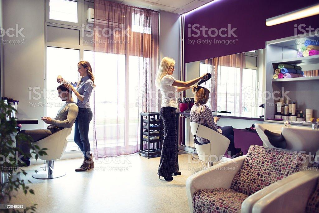 Hair salon wide shot. stock photo