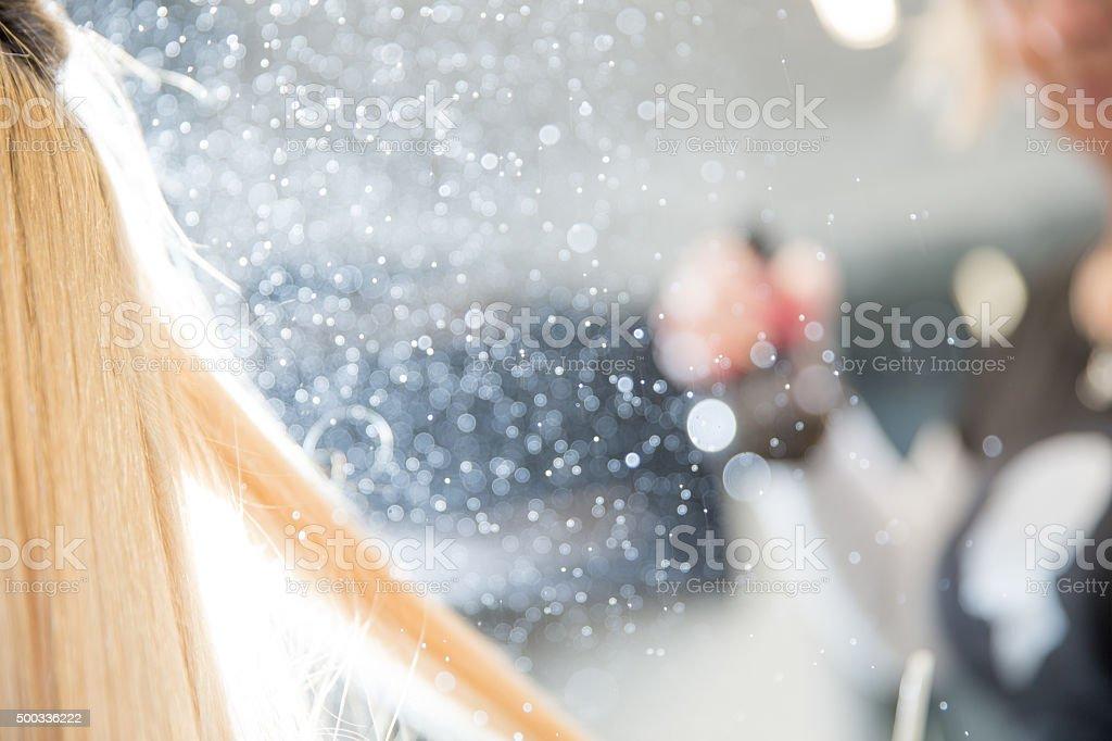 Hair Spraying at Hair Salon, Selective Focus stock photo