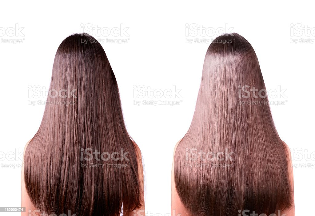 hair straightening before and after stock photo