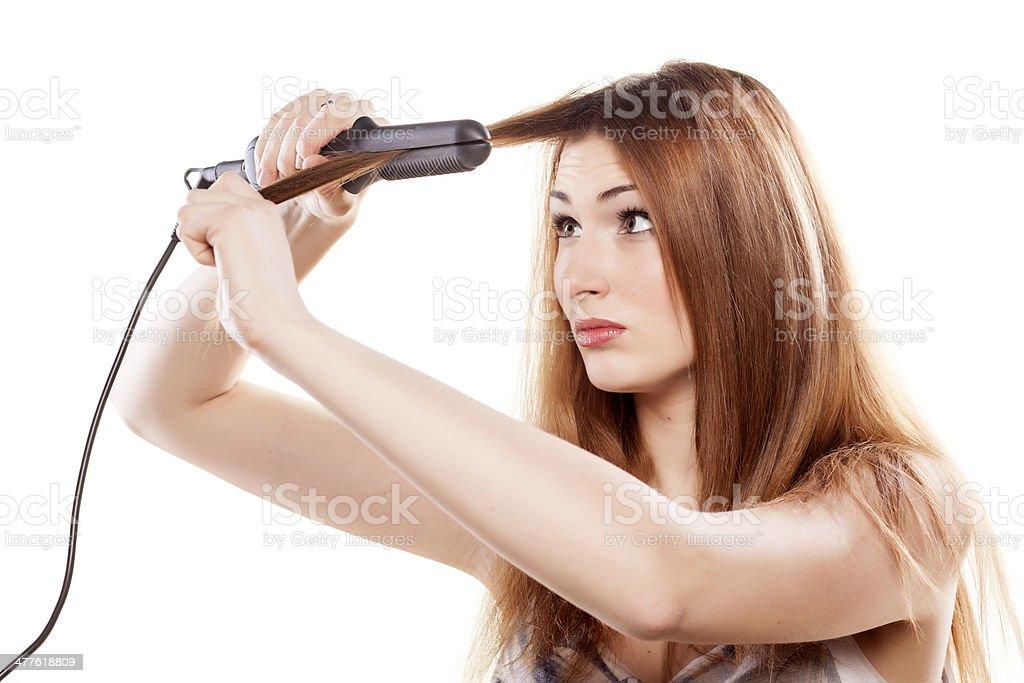 hair straightening stock photo