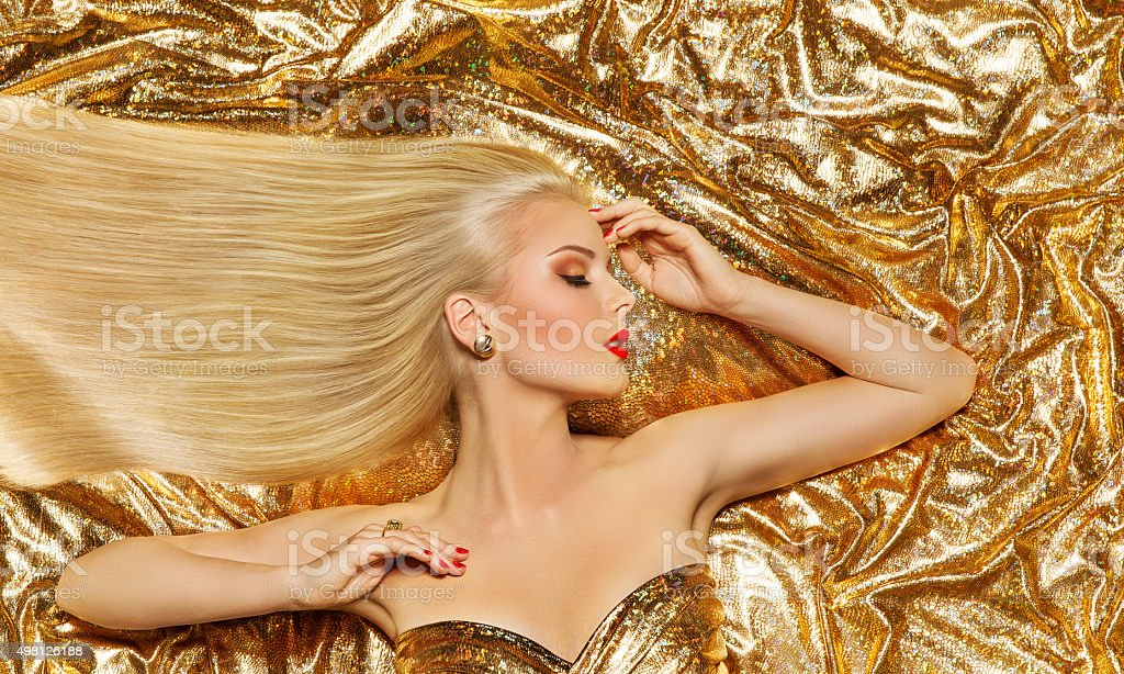 Hair Style Model, Fashion Woman Long Straight Hairstyle, Gold Cloth stock photo