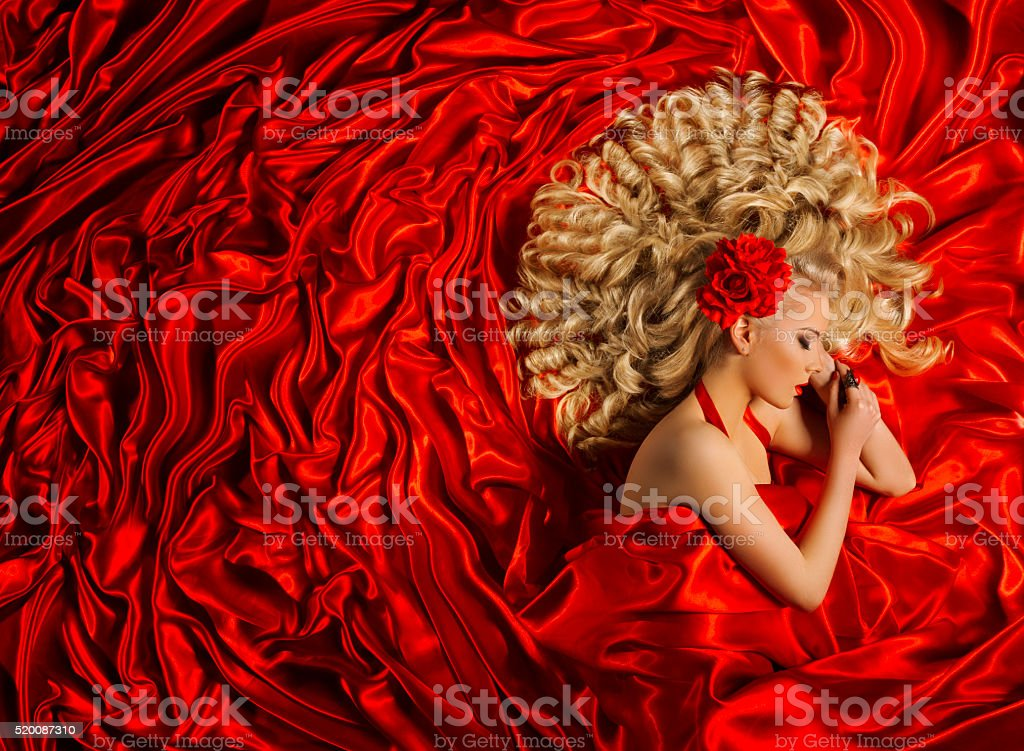 Hair Style, Woman Curly Hairstyle, Fashion Model Red Curl stock photo