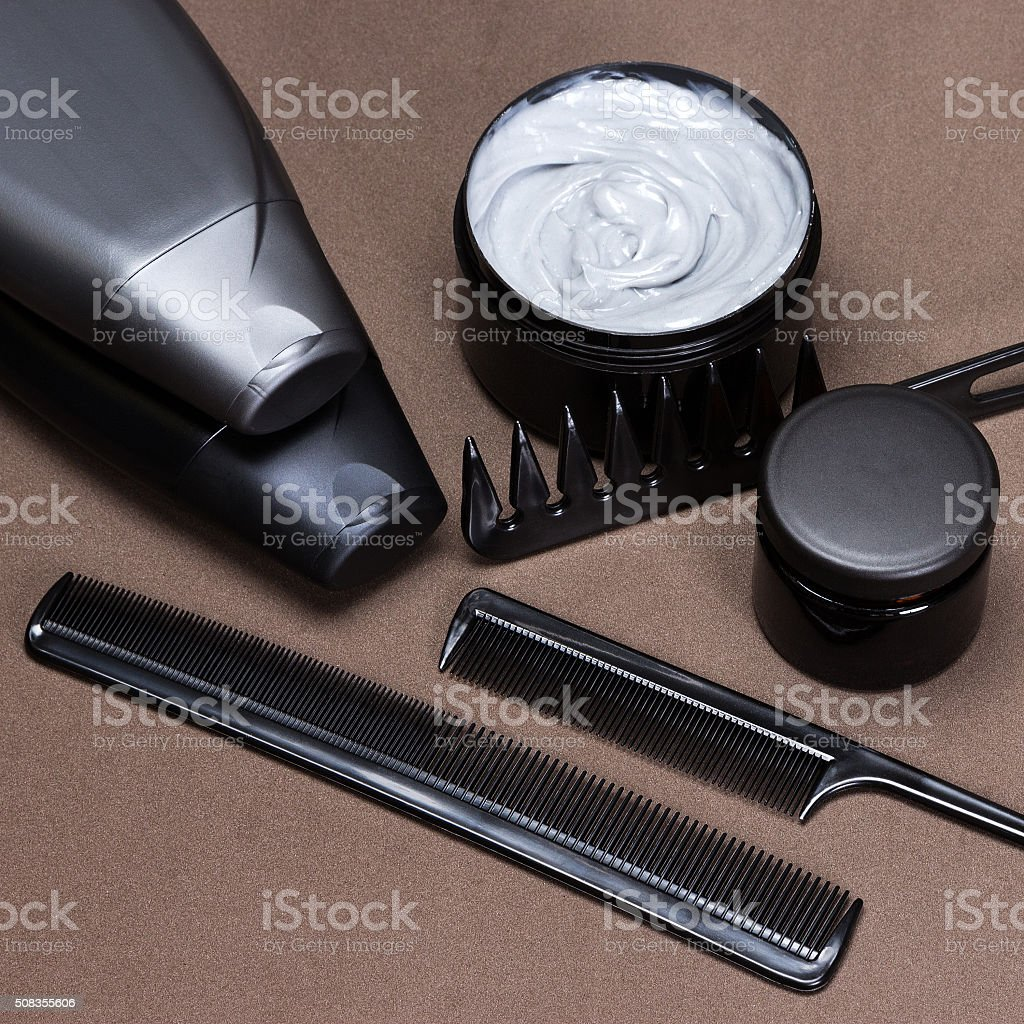 Hair styling products and accessories stock photo