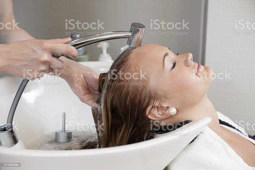Hair Wash At Salon royalty-free stock photo