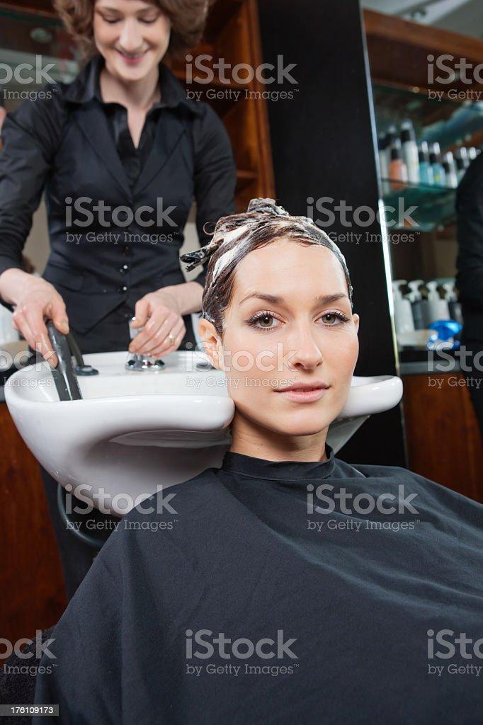 Hair wash stock photo