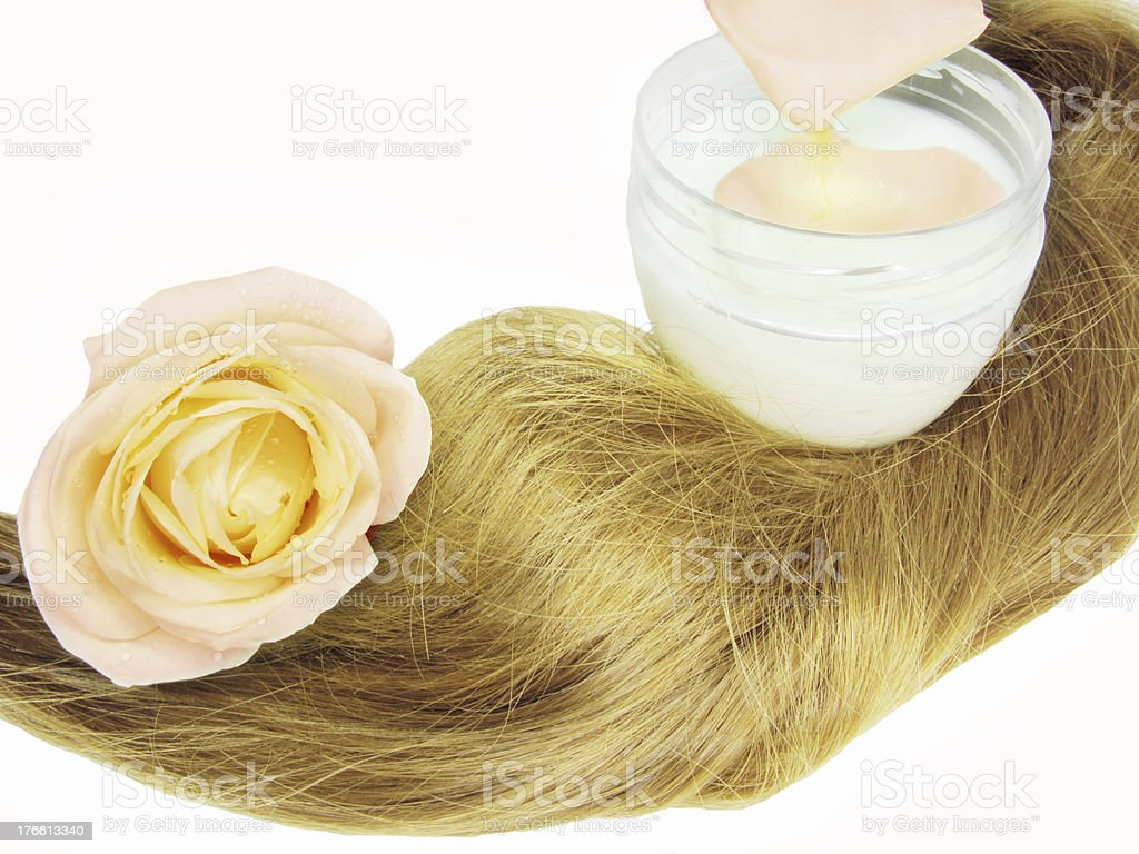 hair wave and moisturizer with fresh rose royalty-free stock photo