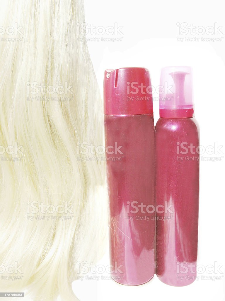 hair wave mousse and spray for making coiffure royalty-free stock photo