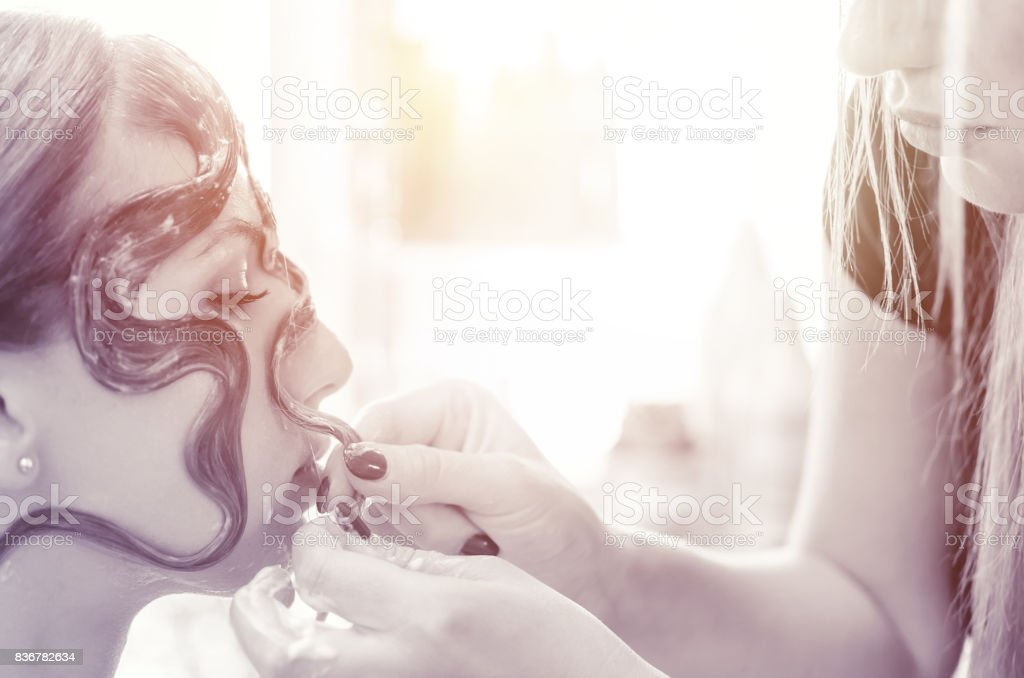 Haircut over the face stock photo