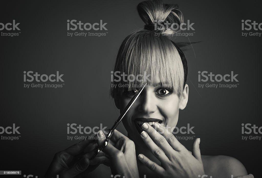 Haircut portrait stock photo