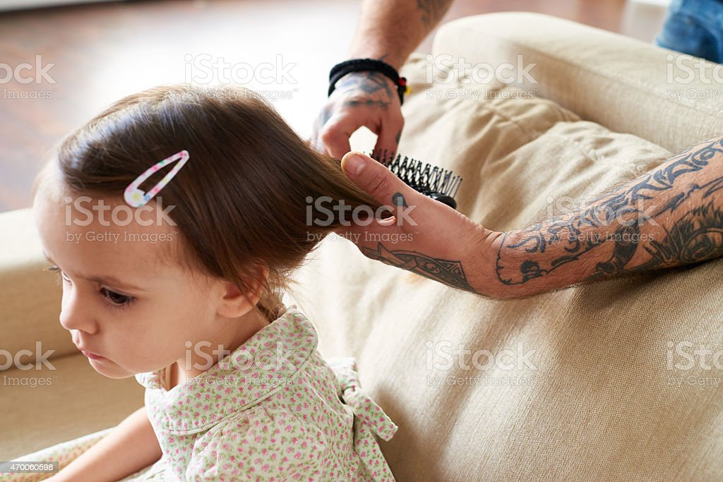 Hairdo for little princess stock photo