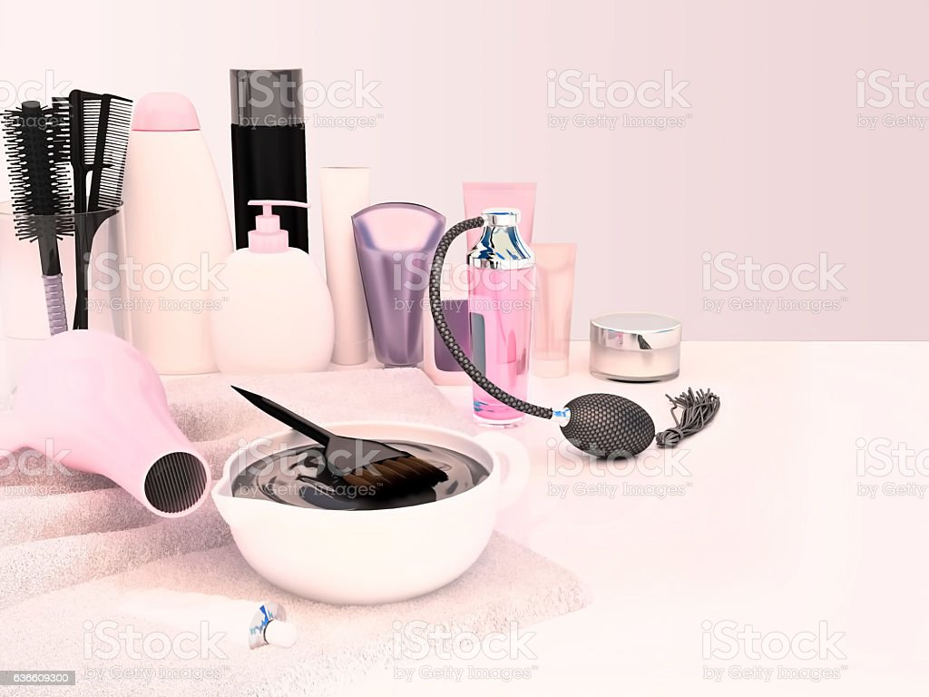 Hairdresser Accessories for coloring hair on a white table. stock photo