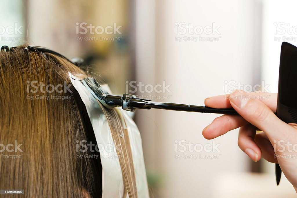 Hairdresser applies new hair color to woman's hair stock photo