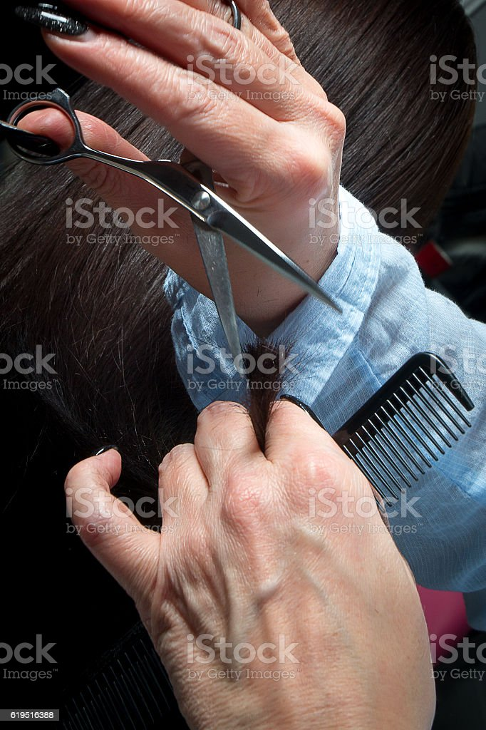 Hairdresser trimming brown hair with scissors stock photo