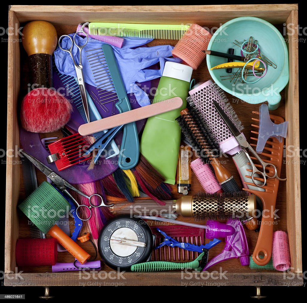 Hairdresser's junk drawer stock photo