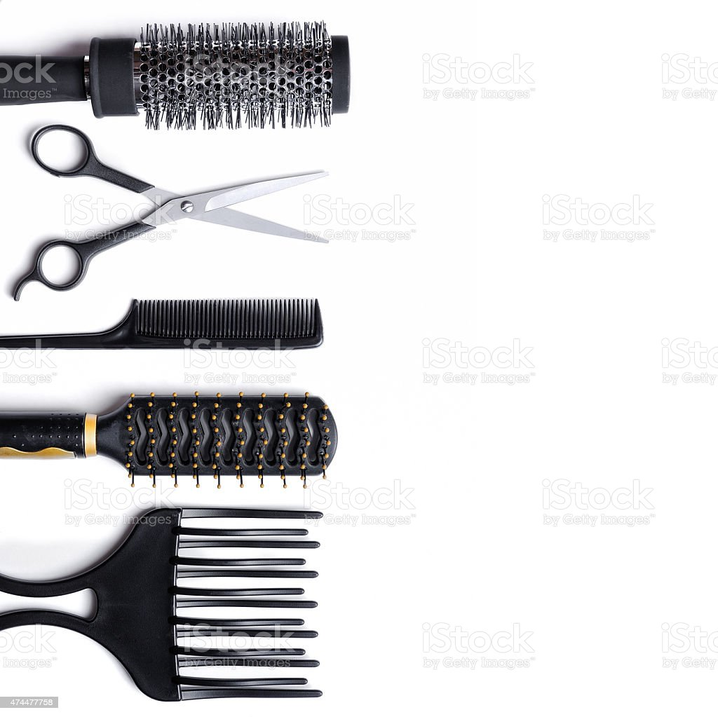 Hairdressing accessories set isolated stock photo