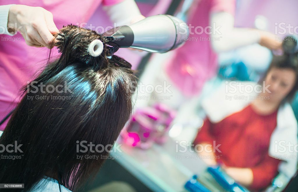 Hairdressing at a salon. stock photo