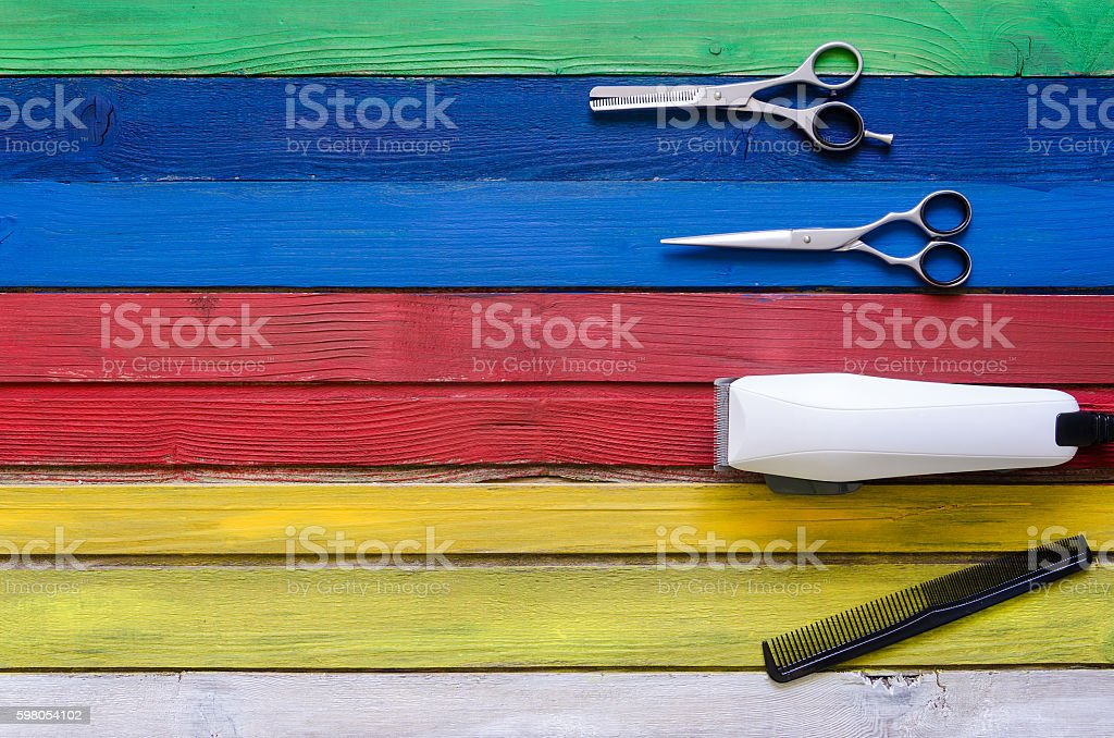 hairdressing tool on a colorful background stock photo
