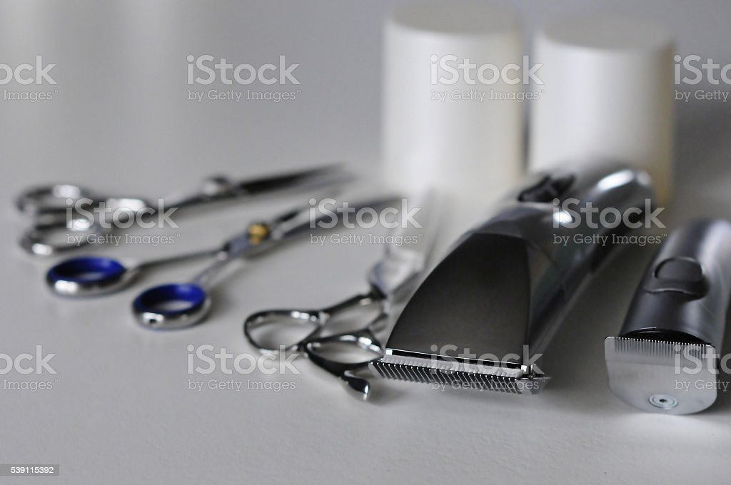 hairdressing tools for cutting hair stock photo