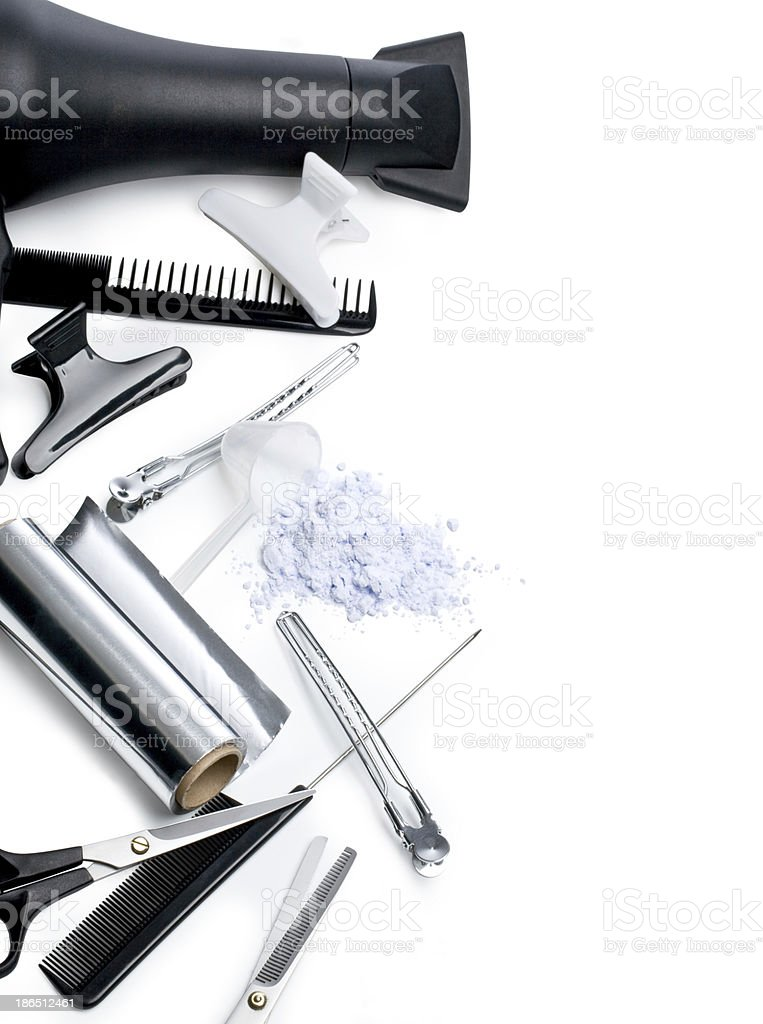 Hairdryer and other hairstyling accessories stock photo
