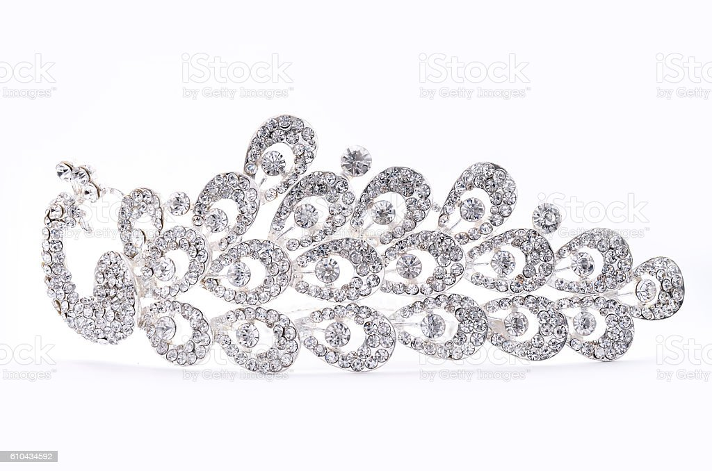 hairpin with diamonds on a white background stock photo