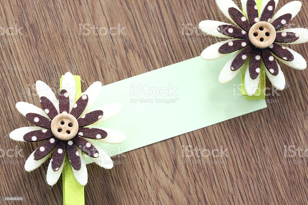 Hairpins of brown pattern and note paper. royalty-free stock photo