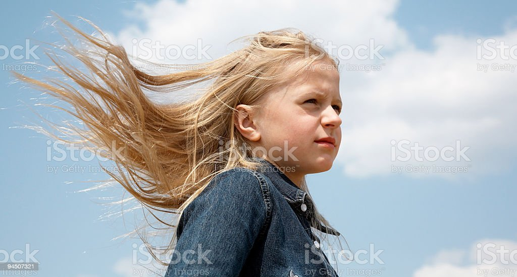 Hairs on the wind royalty-free stock photo