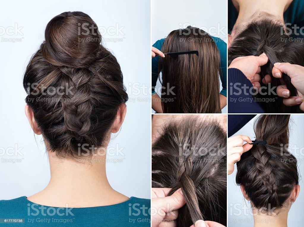 hairstyle braid bun tutorial stock photo