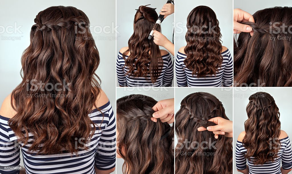 hairstyle braid for long hair tutorial stock photo