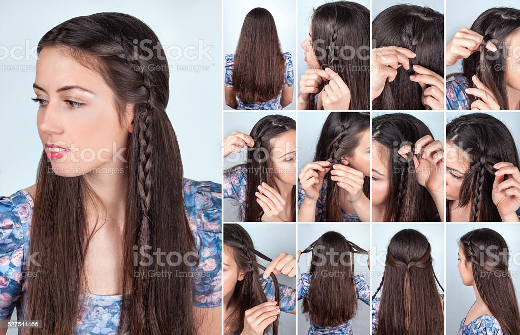 hairstyle braided hair tutorial backstage stock photo