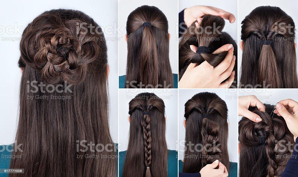 hairstyle braided rose tutorial stock photo