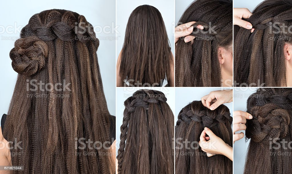 hairstyle braided rose tutorial stock photo