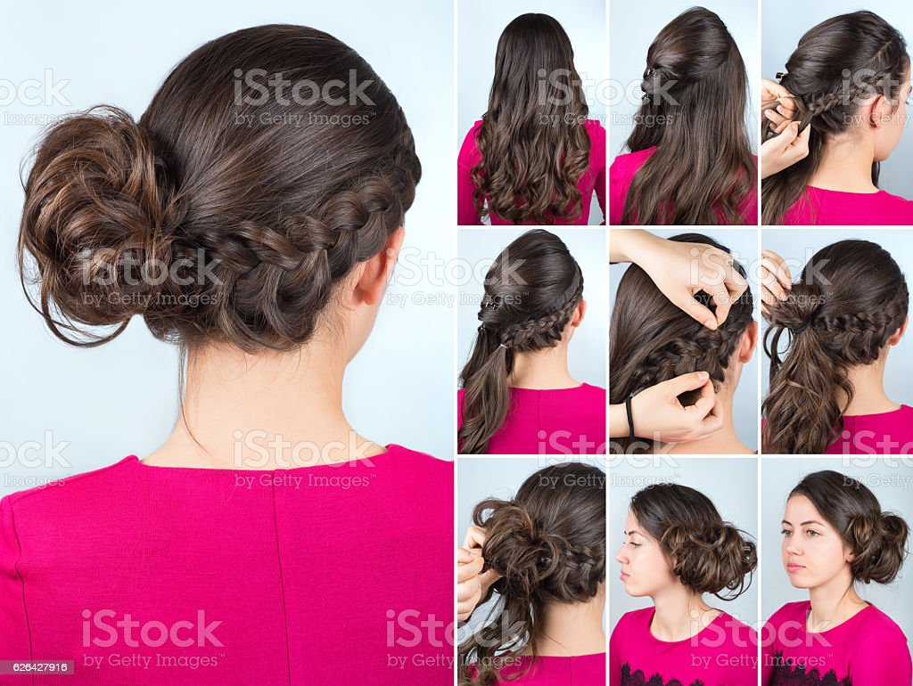 hairstyle bun and plait on curly hair tutorial stock photo
