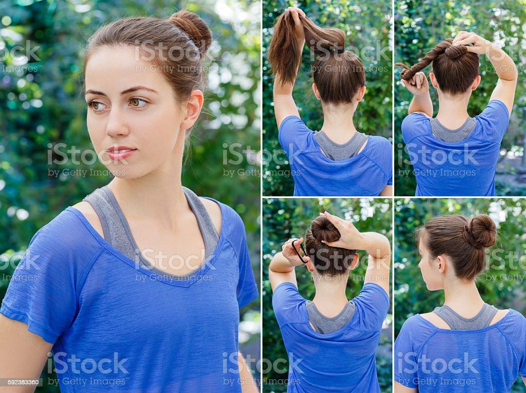 hairstyle bun for sports stock photo