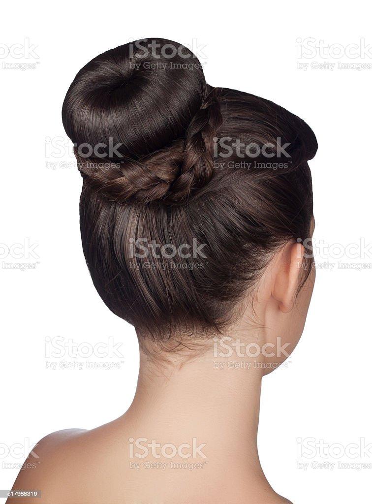 hairstyle bun isolated on white background stock photo
