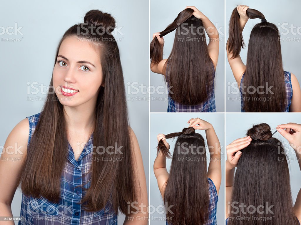 Hairstyle bun tutorial stock photo
