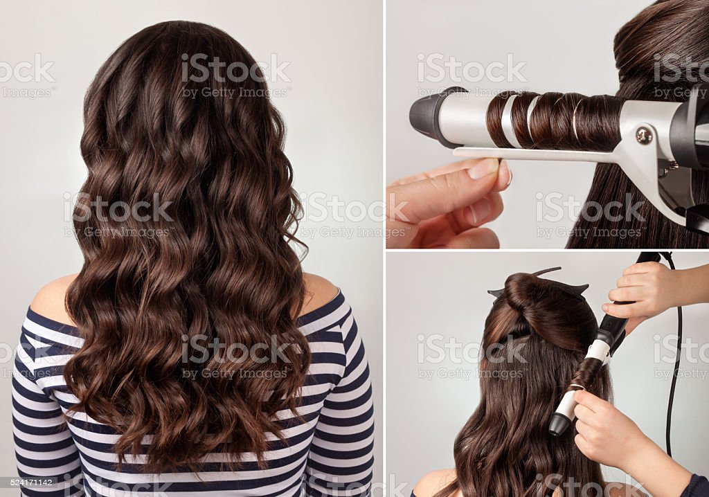 hairstyle curly hair tutorial stock photo