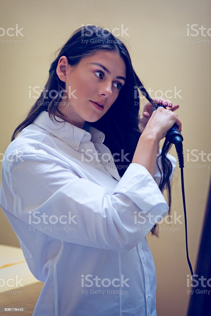 Hairstyle fixing stock photo