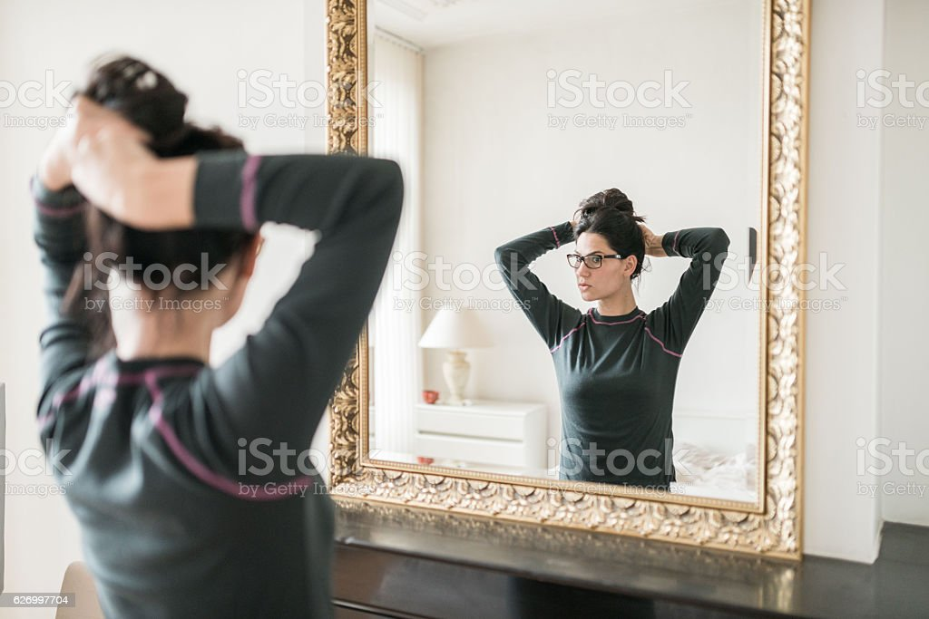 Hairstyle for home stock photo