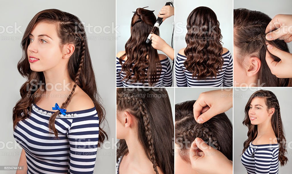 hairstyle for long hair tutorial stock photo