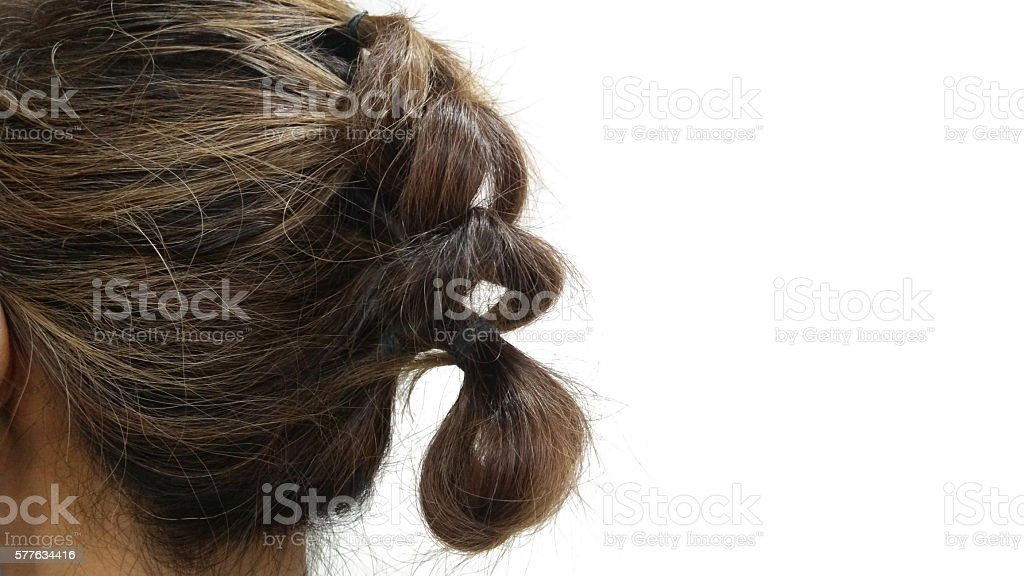 Hairstyle for short hair  isolate on white as background stock photo