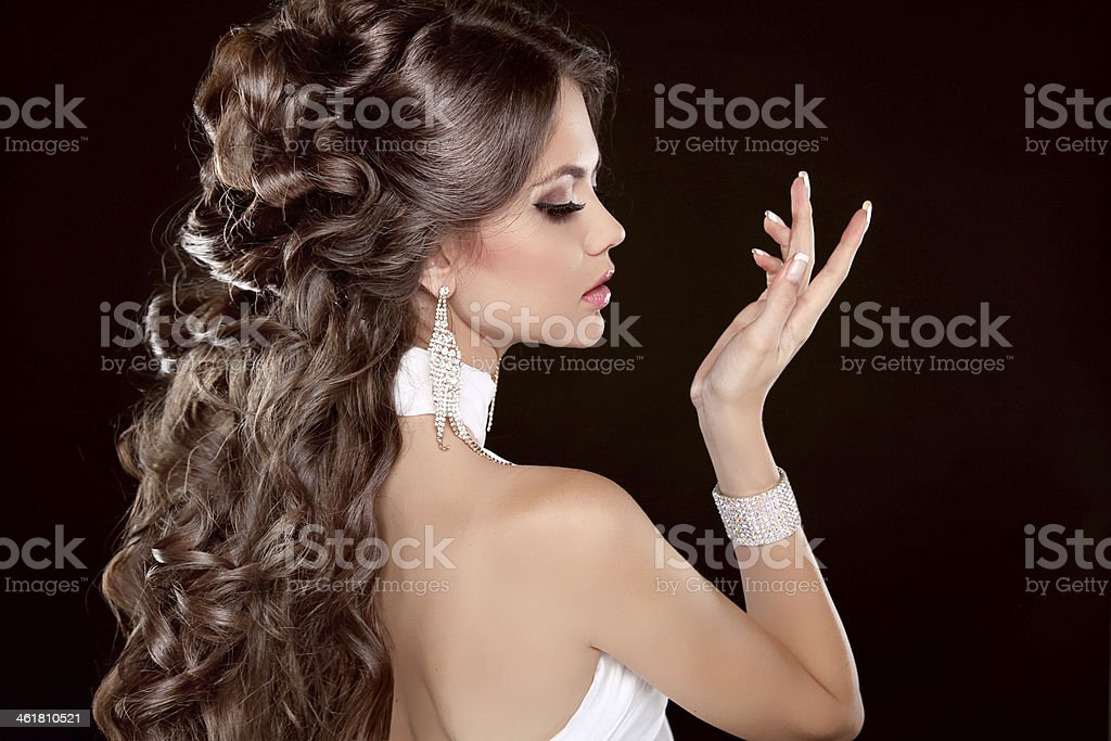 Hairstyle. Long Hair. Glamour Fashion Woman Portrait Of Beauty stock photo