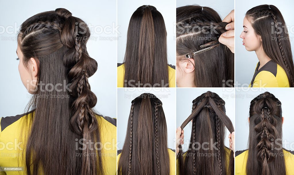 hairstyle plait for party tutorial stock photo
