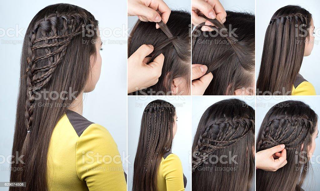 hairstyle plaits tutorial stock photo