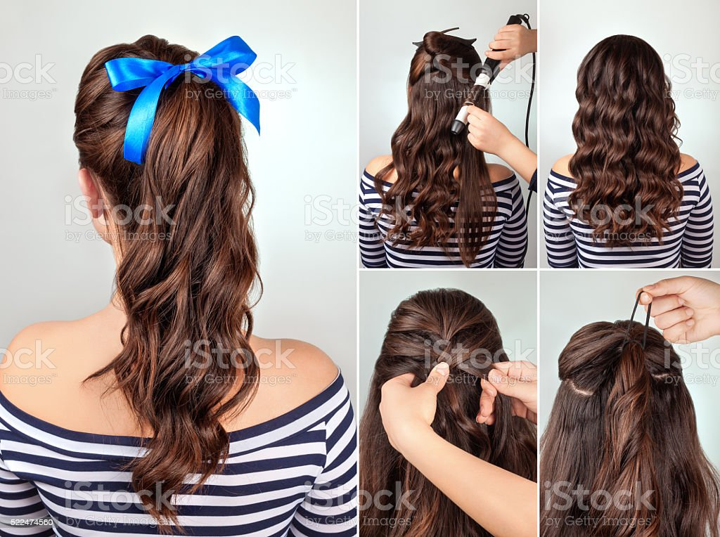 hairstyle pony tail on curly hair tutorial stock photo
