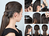 hairstyle ponytail with plait tutorial