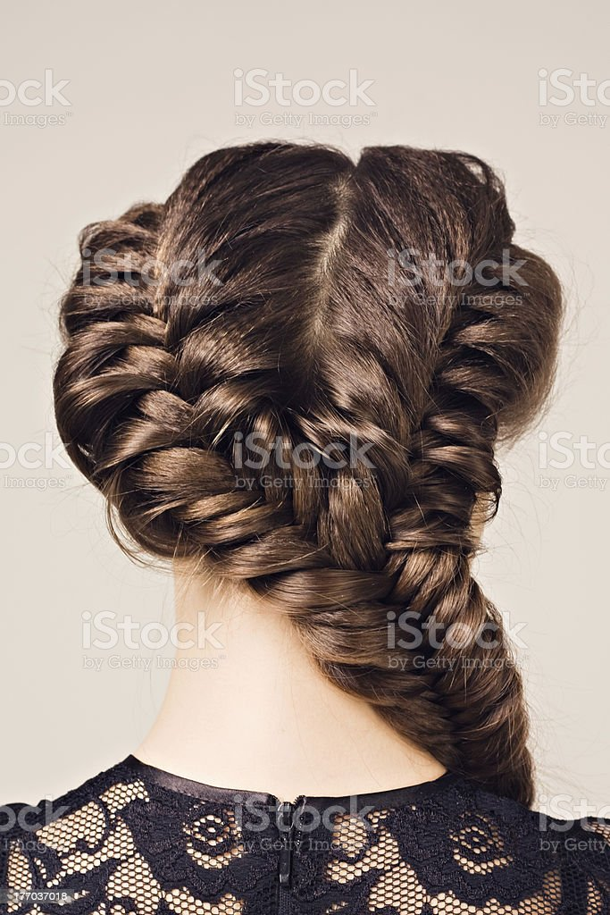 hairstyle portrait of beautiful brunette girl stock photo