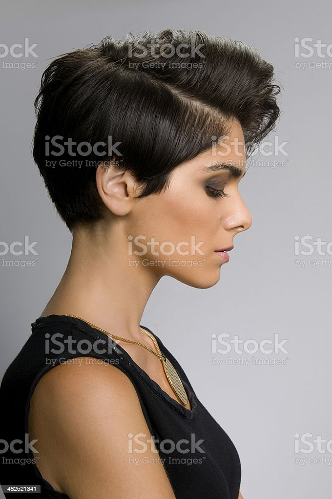 Hairstyle profile stock photo