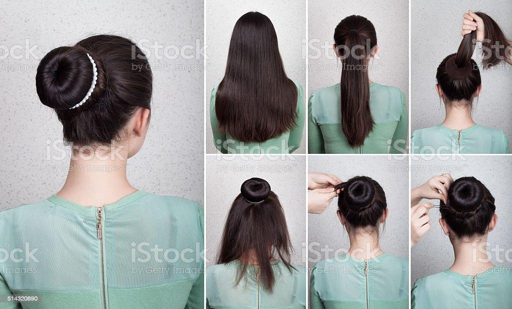 Hairstyle tutorial  elegant bun with chignon stock photo