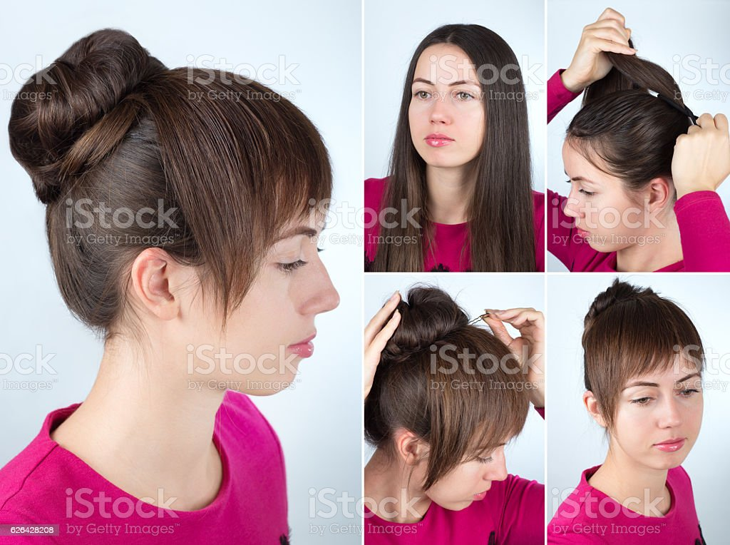 hairstyle twisted bun tutorial stock photo
