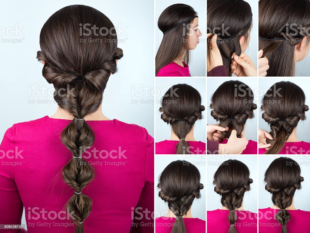 hairstyle twisted ponytail tutorial stock photo